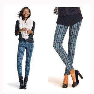 CAbi | Curvy Skinny Grid Blue Jeans Size 8